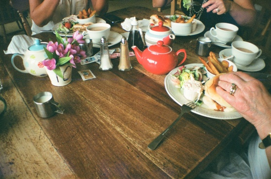 Rustic lunch shot on 35mm film using a lomography La Sardina camera