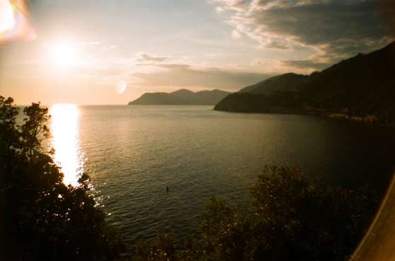 Sunset over Manarola, Cinque Terre, Italy shot on 35mm film using a lomography La Sardina camera