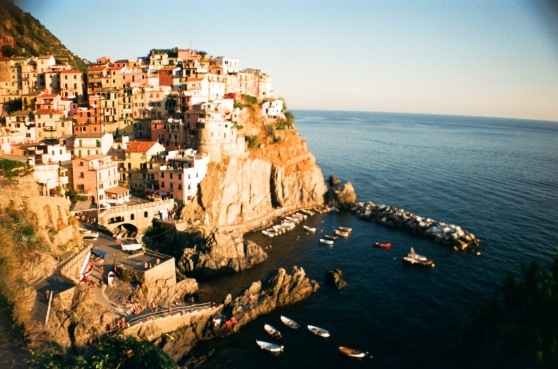 Manarola, Cinque Terre, Italy shot on 35mm film using a lomography La Sardina camera