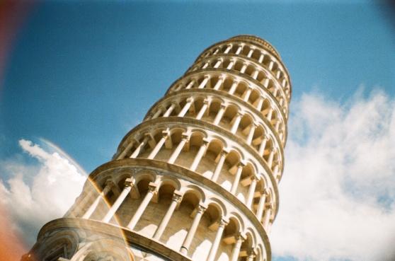 Leaning Tower of Pisa shot on 35mm film using a lomography La Sardina camera)