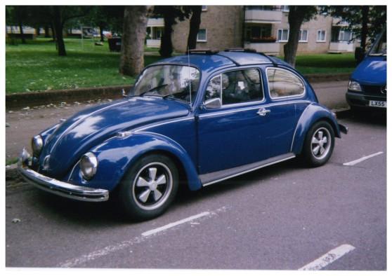 Classic Volkswagen Beetle in cobalt blue