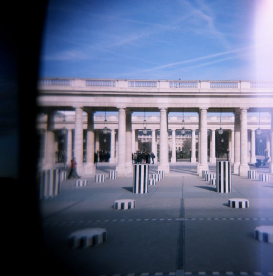 Colonnes art installation at the Palais-Royal, Paris, France | Taken on a Holga 120N film camera