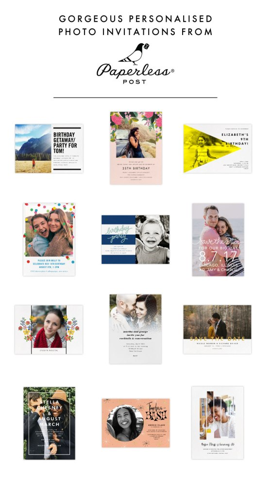 Personalisable photo invitations from Paperless Post